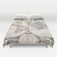 Vintage Map of The World (1685) Duvet Cover by BravuraMedia | Society6
