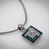 Dimitrios Exclusive 175 ~ Sterling Silver and Swarovski - Medieval Byzantine Pendant