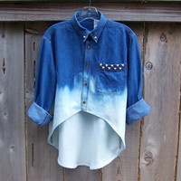 90s grunge studded high low denim shirt / long sleeve blue denim / dip dye / acid wash ombre bleached denim shirt