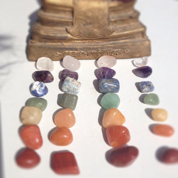 7 Stone Chakra Set Crystal Healing Reiki Energy Infused Charged from India, includes Free Velveteen Bag, Color Therapy
