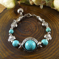 Factory Price 2013 New Arrival Bohemia Tibet Jewelry Vintage Handmade Big Bead Turquoise Sliver  Brcelet  for Women Hot