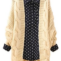 Twisted Pattern Batwing Sleeve Cardigan