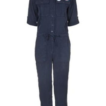 Badged Utility Boiler Suit - Navy Blue