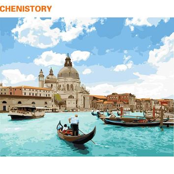 CHENISTORY Frameless Venice DIY Painting By Numbers Landscape Painting & Calligraphy Modern Wall Art Picture Home Decor 40x50cm