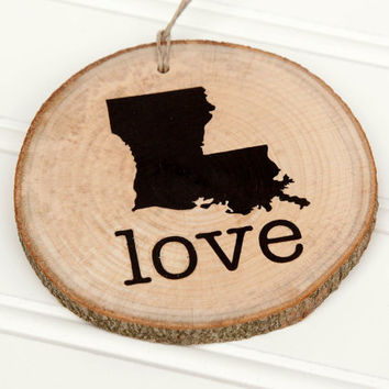 Louisiana Love state shape Maple wood slice ornaments Set of 4.  Wedding favor, Bridal Shower, Country Chic, Rustic, Valentine Gift