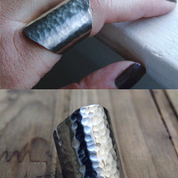 hammered cuff ring, boho chic jewelry, boho ring , statement ring, silver cuff ring, tube ring, wide cuff ring, wide band ring