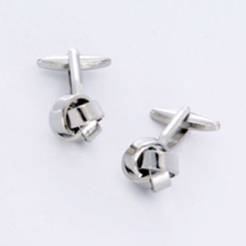 Dashing Cuff Links with Personalized Case - Silver Knot