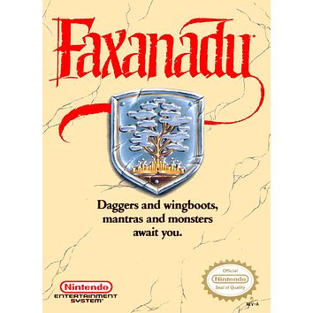 Retro Faxanadu Game Poster//NES Game Poster//Video Game Poster//Vintage Game Cover Reprint