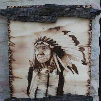 Pyrography portrait of red cloud Mahpiya Luta