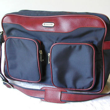Samsonite Messenger Bag   Vintage Navy & Merlot Special Edition Weekender