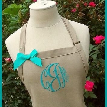 Khaki Gourmet Monogrammed Apron - Personalized Chefs Gift Idea Teal Green White Ribbon Bakers Beach Destination Wedding Bridal bridemaids
