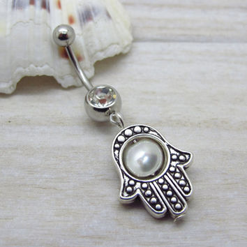 Antique silver  hamsa belly button ring ,  evil eye belly button ring,  navel piercing, belly button ring jewelry,unique gift