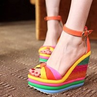 Rainbow Print Super High Wedge Blue Pu Ankle Strap Sandals