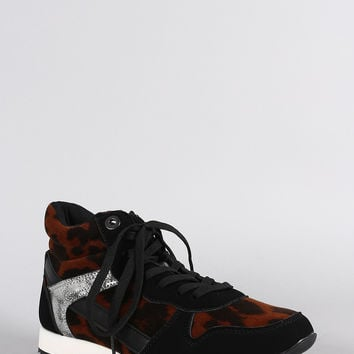 Bamboo Leopard Round Toe High Top Lace Up Sneaker
