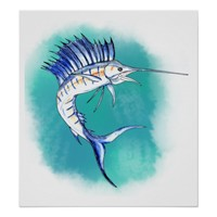 Sailfish in Watercolor