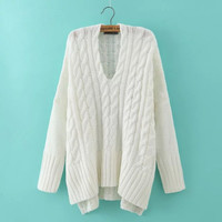 White Twist Knitted Sweater