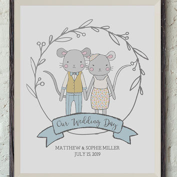 Printable Our Wedding Day Print, 8x10 Inches, Custom Names and Wedding Date, Anniversary, Wedding Art, Animal Portraits, Mice Illustration