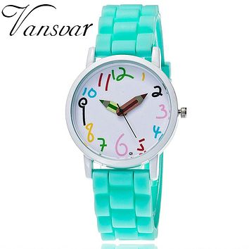 Vansvar Brand Fashion Jelly Silicone Pencil Watch Women, Candy Color Watch