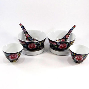 Vintage Chinese Millefleur Famille Noire Enamel Porcelain Soup and Tea Set
