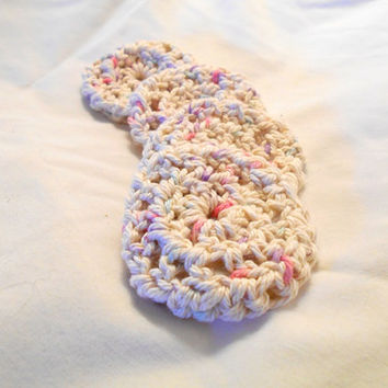 Cotton Face Scrubbies, Handmade, Eco Friendly Makeup Remover FaceCloth Set of 4, Panorama