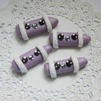 Kawaii Cabochons Polymer Clay Kawaii Crayon Hair Bow Centers  - 4pcs