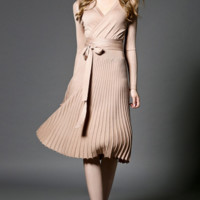 High Quality Elegant Long Sleeve Knitting Dress Cocktail Evening Knee Length Beige Black Red