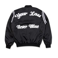 """""""Your Loss Never Mine"""" Satin Bomber Jacket by RHUDE"""