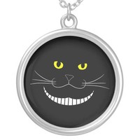 Smiling Cheshire Transparent Cat Necklace