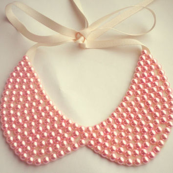 Cotton Candy Pink Pearl Peter Pan Collar Necklace Statement Necklace Pink Necklace Womens Accessories