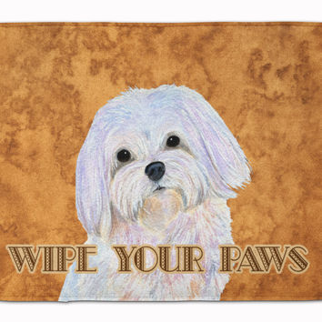 Puppy Cut Maltese Wipe your Paws Machine Washable Memory Foam Mat SS4897RUG