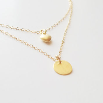 Set of two layered necklace / initial necklace, heart necklace/ personalized gift jewelry, dainty layer necklace, gold filled layer jewelry