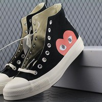 Converse Cdg Play Addict High Tops Fashion Canvas Flats Sneakers Black