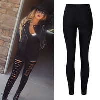 Jeans For women Boyfriend Pencil Skinny Jeans Women female with High Waist Ripped Black Jeans women's trousers