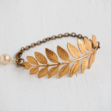 Golden LEAF BRACELET Laurel Grecian Nature Forest Woodland Wedding