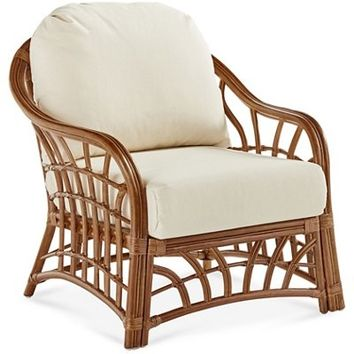 New Kauai Rattan Club Chair, Natural/White - South Sea Rattan - Brands | One Kings Lane