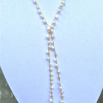 Crochet pearl Lariat necklace - Free shipping