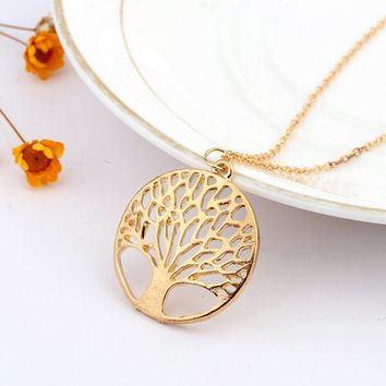 INFERY New Fashion Gold Color Life Tree Pendant Necklace For Women Vintage Maix Necklace Gift 2N374