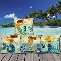 Vintage Mermaid Printed 17x17'' Linen Polyester Decorative Pillowcase Cushion Cover