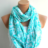 Winter Scarf,Infinity Scarf,Loop Scarf,Circle Scarf,.Ultra soft..Cowl...Nomad Tube..snow flowers
