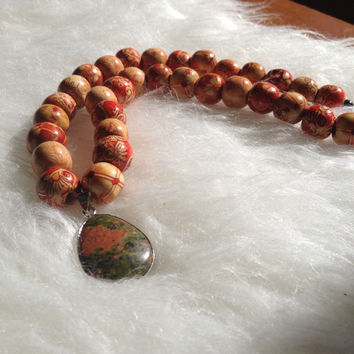 Jasper and Wood Bead Necklace - Handmade, Australian Dragons Blood, Pendant Stones, Red, Tan Wooded Beads, Printed, Silver Accents