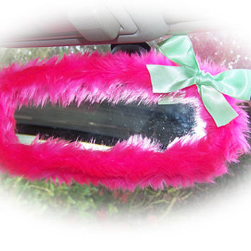 Hot barbie pink cute faux fur furry fluffy fuzzy rear view interior car mirror cover with mint green satin bow girly girl cerise bright