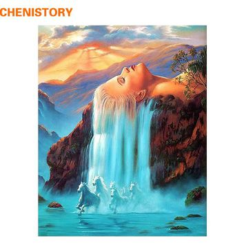 CHENISTORY Wall Art Home Decor 40x50 Wall Pictures Painting By Numbers DIY Digital Oil Painting On Canvas White Hair Waterfall