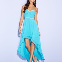 City Studios Juniors Dress, Strapless Twist-Front High-Low Gown - Juniors Prom Dresses - Macy's