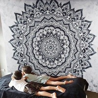 Brooke Black Gray Boho Mandala Tapestry