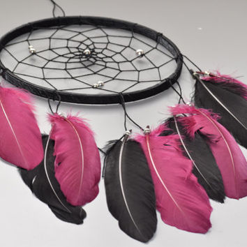 Large Dream catcher, Black and Burgundy Feathers Dream catcher, Wall Hanging Decor, Bedroom Wall Decor, Boho Dream catcher.