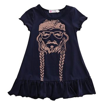 Baby Girl Dress Kids Princess Party Summer Short Sleeve Cotton Child Girls Print Dress Willie Nelson