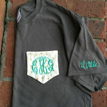 Custom Pocket Tee with Initials or Greek Letters- Can add big or little on the sleeve- Choose from several colors and fabrics