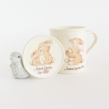 HALLMARK Jesus Loves Me Bunny Coffee Mug with Lid