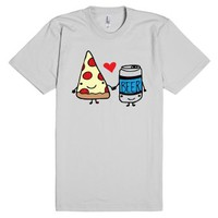 Pizza Loves Beer-Unisex Silver T-Shirt
