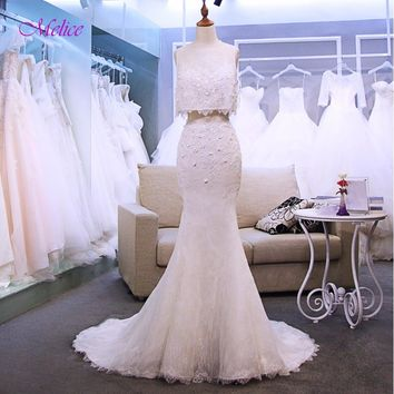 Melice Fashion Scoop Neck Appliques Two Piece Lace Mermaid Wedding Dress 2018 Luxury Beaded Trumpet Bridal Gown Vestido de Noiva
